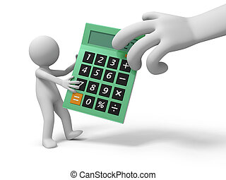 calculator - A 3d person taking the calculator from a 3d...