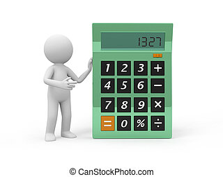 calculator - A 3d person introducing the calculator to the...