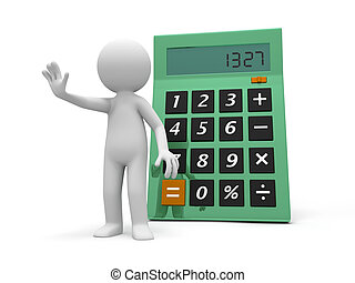 calculator - A 3d person stopping the people back to a...