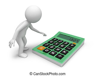 calculator - A 3d man putting out his hand to press the...