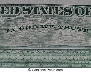 """Detail of the US $5.00 Bill 3 - Detail of the motto \\\""""In..."""