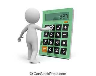 calculator - A 3d man standing face to a calculator
