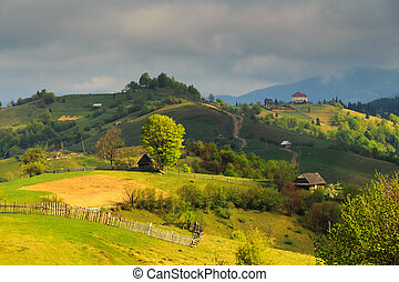 Spring landscape in the Carpathian mountains - Spring gloomy...