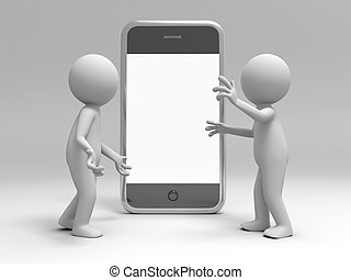 Mobile phone - Two 3d men discussing, a mobile phone...