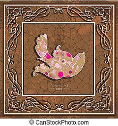 Ornamental bird on grunge background