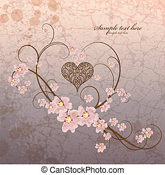 Vintage ornamental frame heart on grunge background -...
