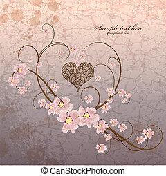 Vintage ornamental frame heart on grunge background -...