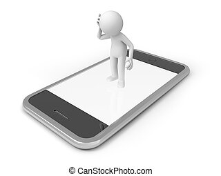 Mobile phone - A 3d man standing on a mobile phone