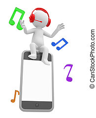 Mobile phone - A 3d man listening to the music sitting on a...