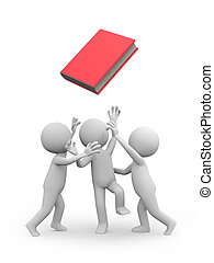 book - Three 3d men snatching a red book