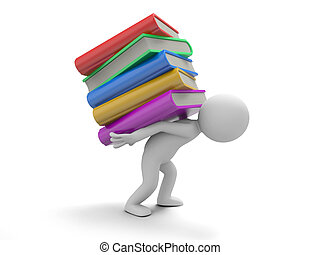 books - A 3d man carrying a stack of books heavily