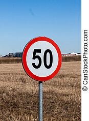 Speed Limit Sign in Rural Setting - Speed Limit Road Sign in...