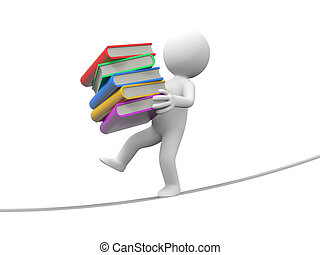books - A 3d person walking on a balance with a stack of...
