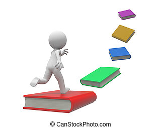 books - A 3d person running along a line of books