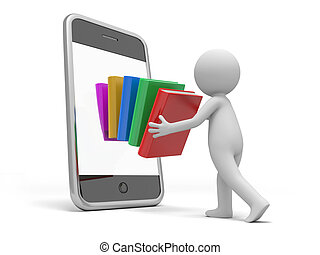 books - A 3d person putting a stack of books into the mobile...