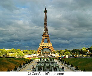 Paris - Eiffel Tower located on the Champ de Mars-symbol of...