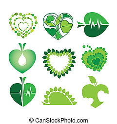 collection of vector logos health and the environment in the...