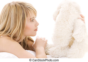 toy - picture of teenage girl with plush toy