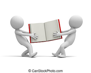 book - Two 3d persons snatching an opened book