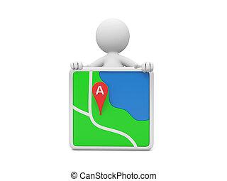 navigator - A 3d person standing behind a navigator