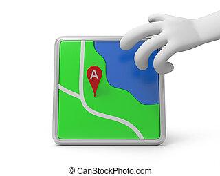 navigator - A 3d hand taking a navigator, landmark