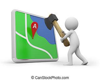 navigator - A 3d person cutting a navigator with an axe