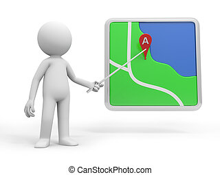 navigator - A 3d person pointing at a navigator with a stick