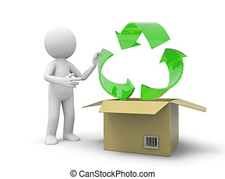 recycling - A 3d person taking a recycling symbol from a box