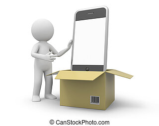 Mobile phone - A 3d person taking a mobile phone from a box
