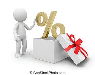 Percent symbol - a 3d person taking a percent symbol from a...