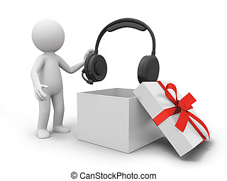 Headphone - a 3d person taking a headphone from a gift box
