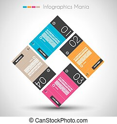 Infographic design template with paper tags Idea to display...