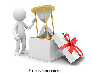 hourglass - a 3d person taking an hourglass from a gift box