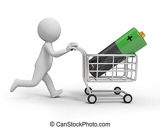 battery - A 3d person/ a battery in the shopping cart
