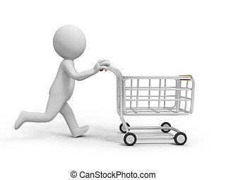 Shopping cart - A 3d person pushing a shopping cart,...