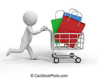 Gift bags - A 3d person/ some gift bags in the shopping cart