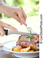 Veal knuckle with potatoes - Delicious roasted and baked...