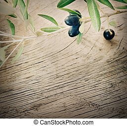 Olive branch on wooden background - Summer olives nature...