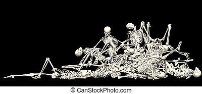 Skeleton pile - 3-d render of a pile of human skeletons
