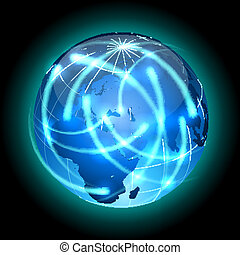 Globe with light traces rotating around. - Communication...