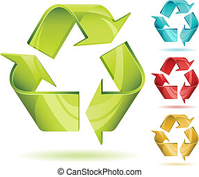 3D glossy recycle vector icon