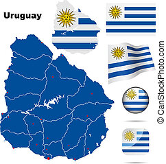 Uruguay vector set Detailed country shape with region...