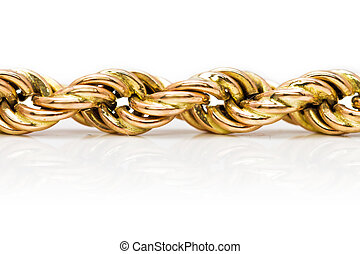 Twisted golden chain - Detail of a tricolor golden twisted...