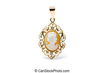 Cameo pendant - Golden cameo pendant of a woman's head
