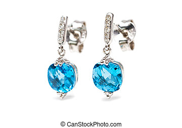 Diamond blue earrings - Isolated white gold aquamarine...