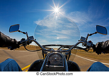 Bikers view - Biker enjoying a ride in the country side on a...