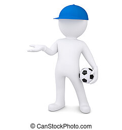 3d man holds out empty hand - 3d white man with soccer ball...