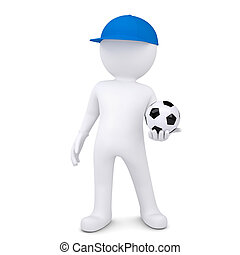 3d white man with soccer ball. Isolated render on a white...