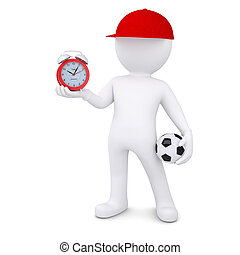 3d man with soccer ball and clock - 3d white man with soccer...