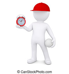 3d man with volleyball ball holding alarm clock - 3d white...